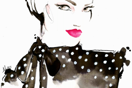 aldraws fashion digital illustration polka dot red lipstick