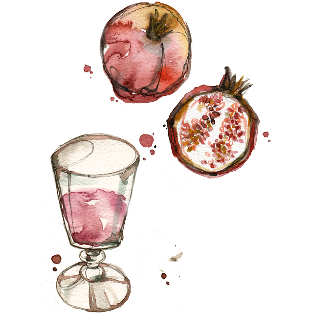 aldraws fashion digital illustration food pomegranate fruit