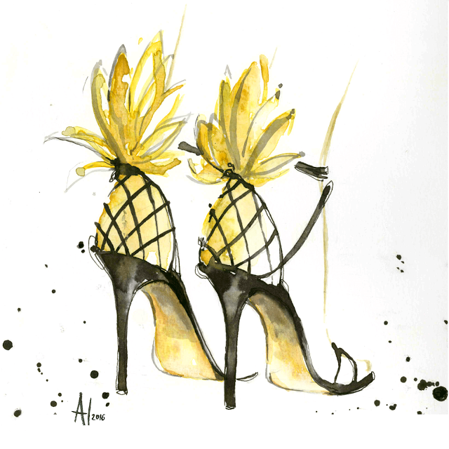 aldraws Al Draws Alessia Landi fashion illustration watercolor pineapple heels shoes sandals aquazzura pina colada