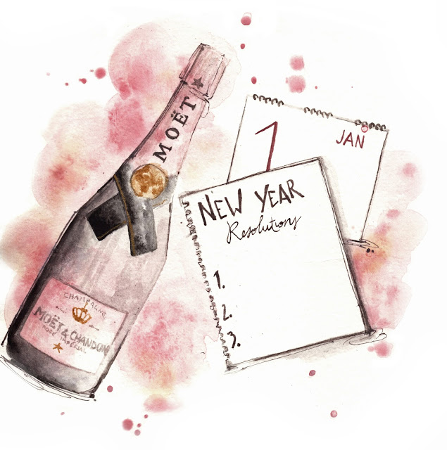 Al Draws Alessia Landi fashion illustration new year champagne watercolor rose moet fashion illustration