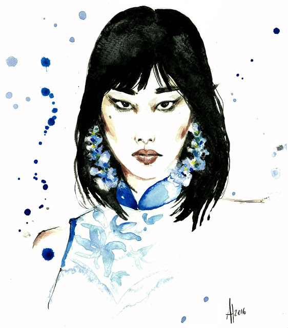 aldraws Al Draws Alessia Landi fashion illustration ong shunmugam singapore fashion week sgfw watercolor