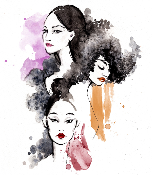 watercolor ink lipstick fashion illustration beauty make up Alessia Landi Al Draws