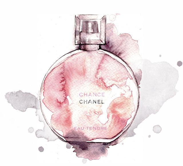 Al Draws chanel perfume fashion watercolor illustration beauty Alessia Landi