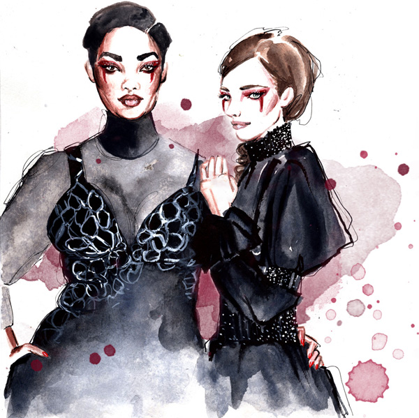 Christian Siriano fall winter 2017 fashion illustration Al Draws Alessia Landi watercolor new york fashion week curvy plus size