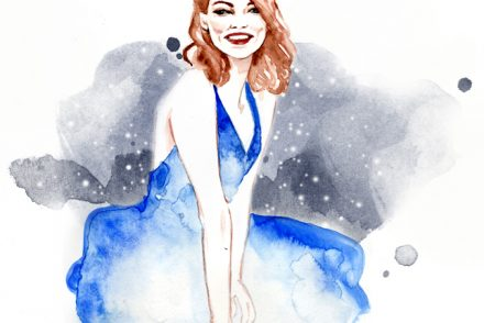 Emma Stone La La Land Alessia Landi fashion illustration movie review watercolor portrait Al Draws