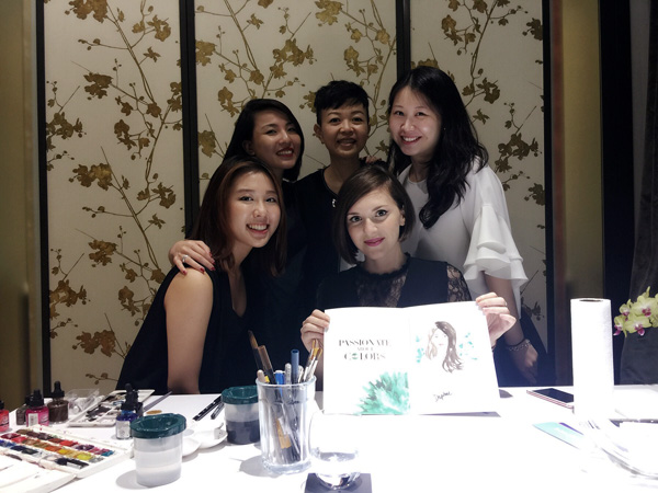 Alessia Landi Fashion illustration live sketching Piaget event Singapore