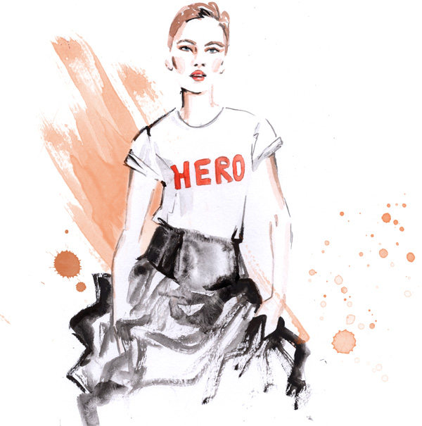 Fashion illustration Alessia Landi Aldraws watercolour hero t-shirt tulle skirt model orange self-acceptance