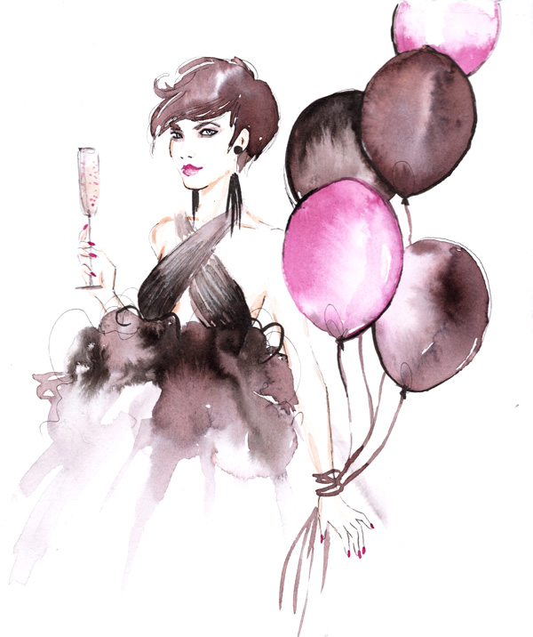 Alessia Landi Fashion Illustration birthday champagne balloons watercolour marchesa dress