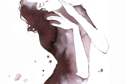 Alessia Landi AlDraws fashion illustration ink watercolor woman thinking romantic chic
