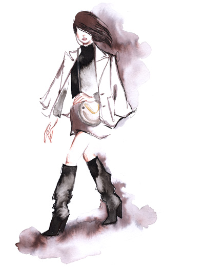 Girl in boots Fashion Illustration Alessia Landi ink watercolor winter french jacket over shoulders