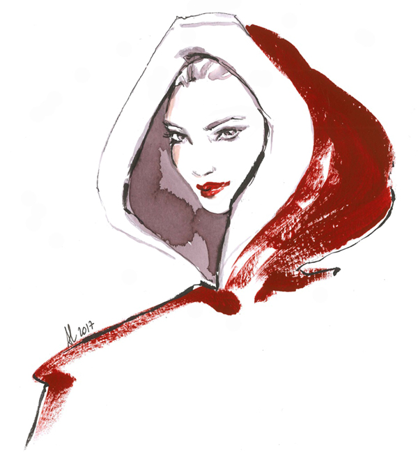 Christmas Fashion Illustration drawing Alessia Landi Santa red holidays greetings watercolour