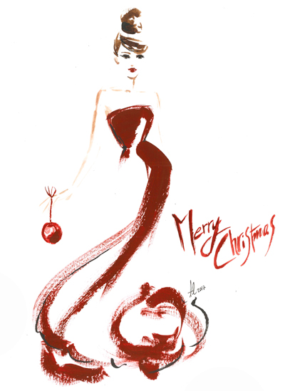 Christmas Fashion Illustration drawing Alessia Landi card merry red greetings watercolour ink