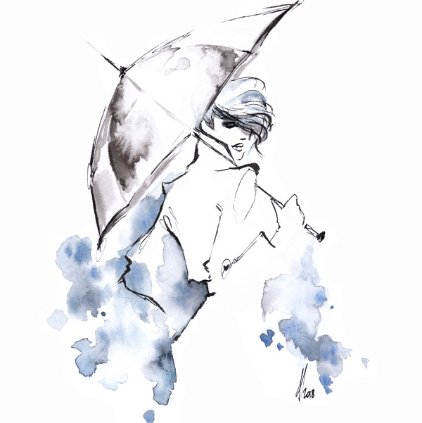 Umbrella rain fashion illustration Alessia Landi Al draws ink watercolour